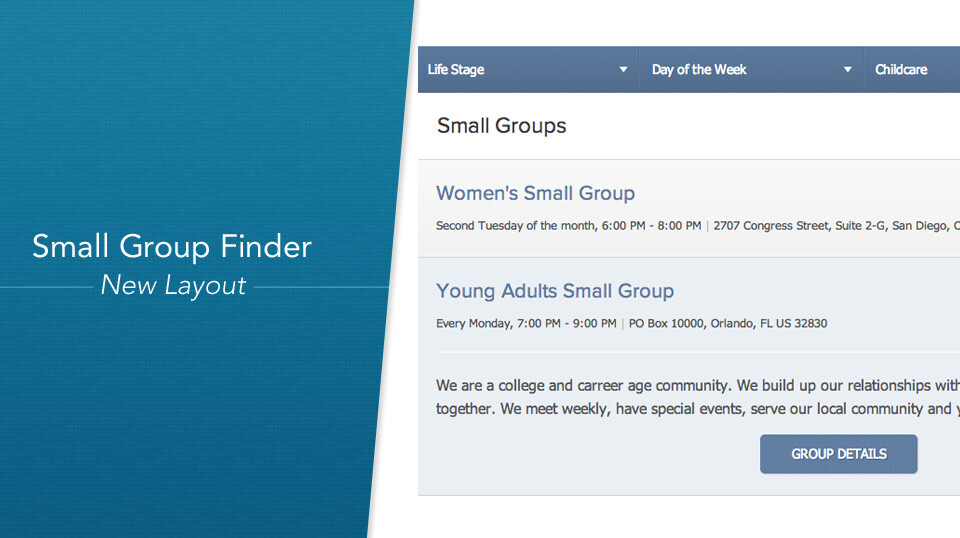 Small Group Finder
